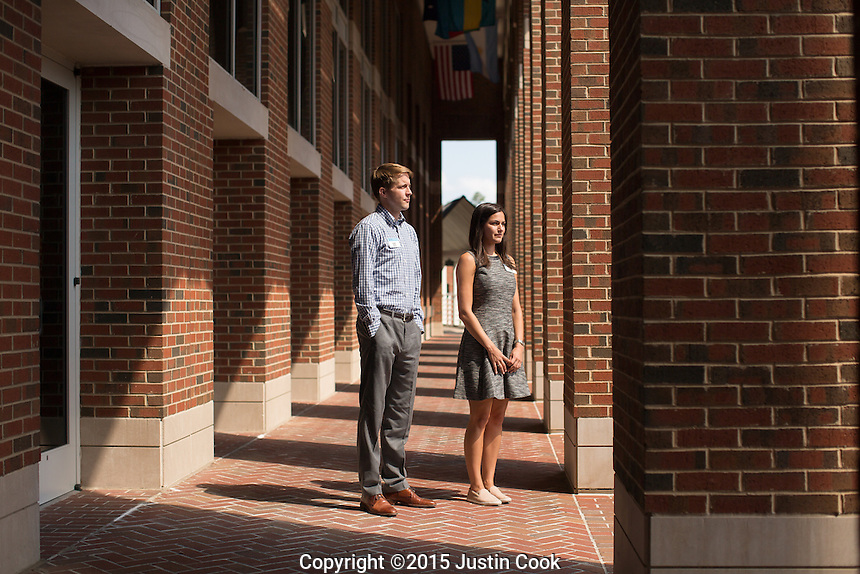 Portrait of MBA students Frank Berndt and Robbie Saclarides, and Mark Lang's class at the McColl Building at the Kenan-Flagler Business School at The University of North Carolina at Chapel Hill in Chapel Hill, NC on Friday, July 24, 2015. (Justin Cook for The Wall Street Journal)<br /> <br /> Story Summary: Students are showing up early on business-school campuses, even when they don&rsquo;t have to. At schools like UNC Chapel-Hill&rsquo;s Kenan-Flagler Business School and NYU Stern, summer sessions&mdash;intended to get students without business backgrounds up to speed before the semester begins&mdash;are growing in popularity as even finance whizzes say they don&rsquo;t want to miss the chance to polish their job-search plans and socialize with their new classmates.
