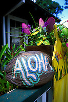 "A  painted coconut says """"Aloha"""" welcoming patrons to a Lanai gift shop."