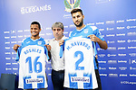 CD Leganes' new players Roberto Rosales (l) and Marc Navarro (r) with the General manager Txema Indias during their official presentation. July 30, 2019.(ALTERPHOTOS/Acero)