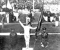 August-September 1920, Olympic Stadium, Antwerp, Belgium;  1920 Summer Olympic Games;  Victor Boin Belgium taking the first oath on behalf of all competitors at the Olympic Games ; A total of 29 nations participated in the Antwerp Games, only one more than in 1912, as Germany, Austria, Hungary, Bulgaria and Ottoman Empire were not invited, having lost World War I.