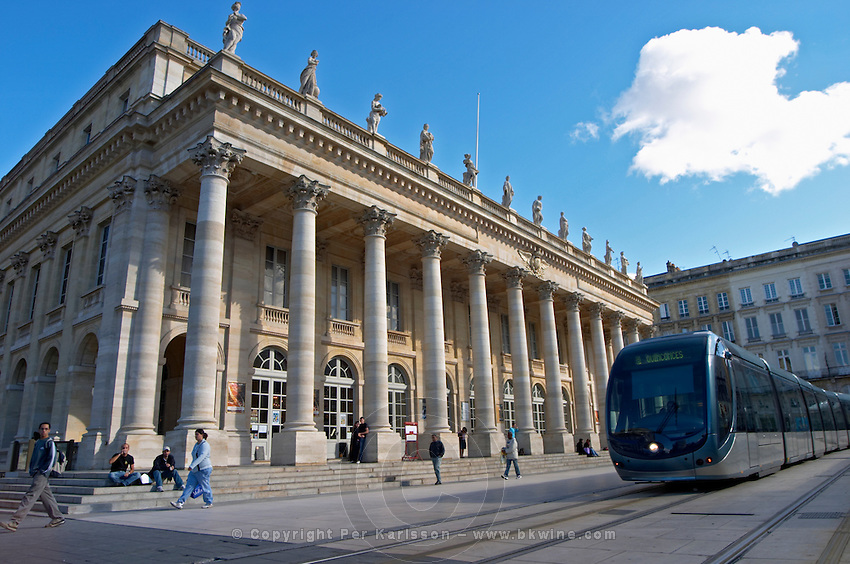 Le Grand Theatre theatre and opera house on Place De La Comedie. The modern tram. Bordeaux city, Aquitaine, Gironde, France