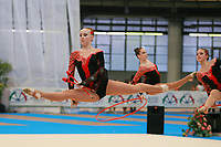 USA Senior Group split leaps during hoops + clubs routine at 2007 Genoa World Cup of Rhythmic Gymnastics Groups on June 9, 2007 at Genoa, Italy.  (Photo by Tom Theobald)