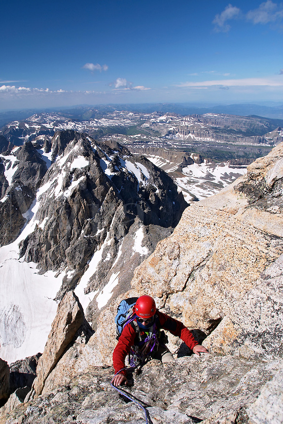 Climber at top of friction pitch on Exum (South) Ridge on the Grand Teton, Grand Teton National Park, Teton County, Wyoming, USA
