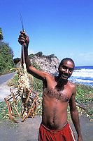 Lobsterman at windward side of Grants Bay in St Vincent and the Grenadines.