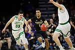 SIOUX FALLS, SD - MARCH 8: Jarred Godfrey #1 of the PFW Mastodons pushes the ball up court past Gertautas Urbonavicius #32 of the North Dakota Fighting Hawks at the 2020 Summit League Basketball Championship in Sioux Falls, SD. (Photo by Richard Carlson/Inertia)