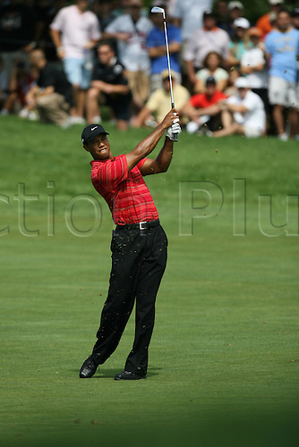 16 August 2009: Tiger Woods hits a shot during the final round of the 91st PGA Championship at Hazeltine National Golf Club in Chaska, Minnesota. (Photo: Charles Baus/actionplus)