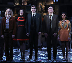 "Andrew Durand,  Erin Neufer, Robert Stanton, David Wilson Barnes and Rana Roy during the Broadway Opening Night Curtain Call for ""Ink"" at the Samuel J. Friedman Theatre on April 24, 2019  in New York City."