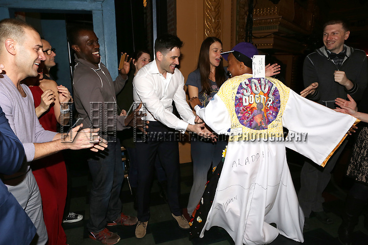 Charlie Pollock, Joshua Henry, Colin Donnell, Sutton Foster and Anastacia McCleskey during the Opening Night Broadway AEA Gypsy Robe Ceremony honoring Anastacia McCleskey for 'Violet'  at The American Airlines Theatre on April 20, 2014 in New York City.