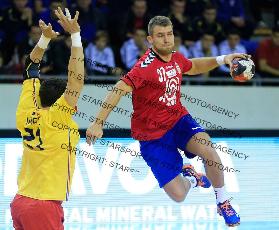Rukomet-Handball<br /> Srbija v Rumunija-Prijateljski mec friendly match<br /> Strahinja Stankovic (R)<br /> Beograd, 28.12.2015.<br /> foto: Srdjan Stevanovic/Starsportphoto&copy;