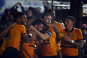 5th February 2019, Rodney Parade, Newport, Wales; FA Cup football, 4th round replay, Newport County versus Middlesbrough; Padraig Amond of Newport County celebrates with team mates after putting Newport County 2-0 up in the 67th minute