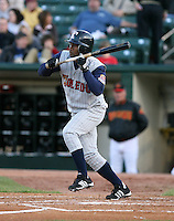 2007:  Henry Mateo of the Toledo Mudhens attempts to bunt during an at bat vs. the Rochester Red Wings in International League baseball action.  Photo By Mike Janes/Four Seam Images
