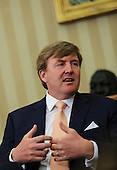 King Willem-Alexander of the Netherlands speaks during a meeting in the Oval Office of the White House with United States President Barack Obama (unseen) and Queen Maxima of the Netherlands (unseen) on June 1, 2015, in Washington, DC. <br /> Credit: Aude Guerrucci / Pool via CNP