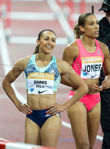 24.07.2015. Queen Elizabeth Olympic Park, London, England. Sainsburys Anniversary Games.  Jessica Ennis-Hill (GBR) is all smiles after achieving a seasons best in the Women's 100m Hurdles.