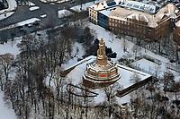 Bismarck Denkmal : EUROPA, DEUTSCHLAND, HAMBURG, (EUROPE, GERMANY), 21.12.2009  Europa, Deutschland, Hamburg, Das Bismarck-Denkmal der Stadt Hamburg ist das mit 34,3 Metern Gesamthoehe groesste und wohl bekannteste Bismarck-Standbild weltweit.<br />Die ueberlebensgroße Statue des ersten deutschen Reichskanzlers Fuerst Otto von Bismarck steht am Rande der Neustadt, unweit der Landungsbruecken am Hamburger Hafen, auf einer Elbhoehe im Alten Elbpark. Geplant und ausgefuehrt wurde das Monument 1901 bis 1906 von dem Architekten Johann Emil Schaudt und vom Berliner Bildhauer und Jugendstilkuenstler Hugo Lederer.<br />Denkmal, Bismarck,  Winter, Schnee, Sehenswuerdigkeit,  Aufwind-Luftbilder, Luftbild, Luftaufname, Luftansicht<br />c o p y r i g h t : A U F W I N D - L U F T B I L D E R . de<br />G e r t r u d - B a e u m e r - S t i e g 1 0 2, <br />2 1 0 3 5 H a m b u r g , G e r m a n y<br />P h o n e + 4 9 (0) 1 7 1 - 6 8 6 6 0 6 9 <br />E m a i l H w e i 1 @ a o l . c o m<br />w w w . a u f w i n d - l u f t b i l d e r . d e<br />K o n t o : P o s t b a n k H a m b u r g <br />B l z : 2 0 0 1 0 0 2 0 <br />K o n t o : 5 8 3 6 5 7 2 0 9<br />C o p y r i g h t n u r f u e r j o u r n a l i s t i s c h Z w e c k e, keine P e r s o e n l i c h ke i t s r e c h t e v o r h a n d e n, V e r o e f f e n t l i c h u n g  n u r  m i t  H o n o r a r  n a c h  A B S P R A C H E, N a m e n s n e n n u n g  u n d  B e l e g e x e m p l a r !