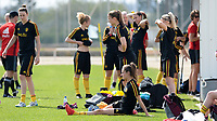 20180303 - LARNACA , CYPRUS : illustration picture shows the players getting ready for a Matchday -2 training from The Belgian Red Flames prior to their game against Austria , on Saturday 3 March 2018 at the Alpha Sports Grounds in Larnaca , Cyprus . This will be the third game in group B for Belgium during the Cyprus Womens Cup , a prestigious women soccer tournament as a preparation on the World Cup 2019 qualification duels. PHOTO SPORTPIX.BE | DAVID CATRY