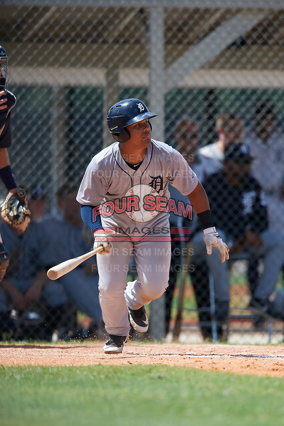 GCL Tigers West catcher Pedro Hurtado (18) grounds out during a game against the GCL Tigers East on August 8, 2018 at Tigertown in Lakeland, Florida.  GCL Tigers East defeated GCL Tigers West 3-1.  (Mike Janes/Four Seam Images)