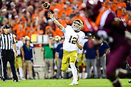 Blacksburg, VA - OCT 6, 2018: Notre Dame Fighting Irish quarterback Ian Book (12) throws a pass from the pocket during first half action of game between Notre Dame and Virginia Tech at Lane Stadium/Worsham Field Blacksburg, VA. (Photo by Phil Peters/Media Images International)