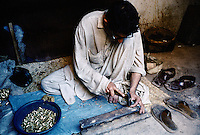 Gun bullets newly made. Darra town in Pakistan clandestinely provides arms to more than eight Central Asian countries.