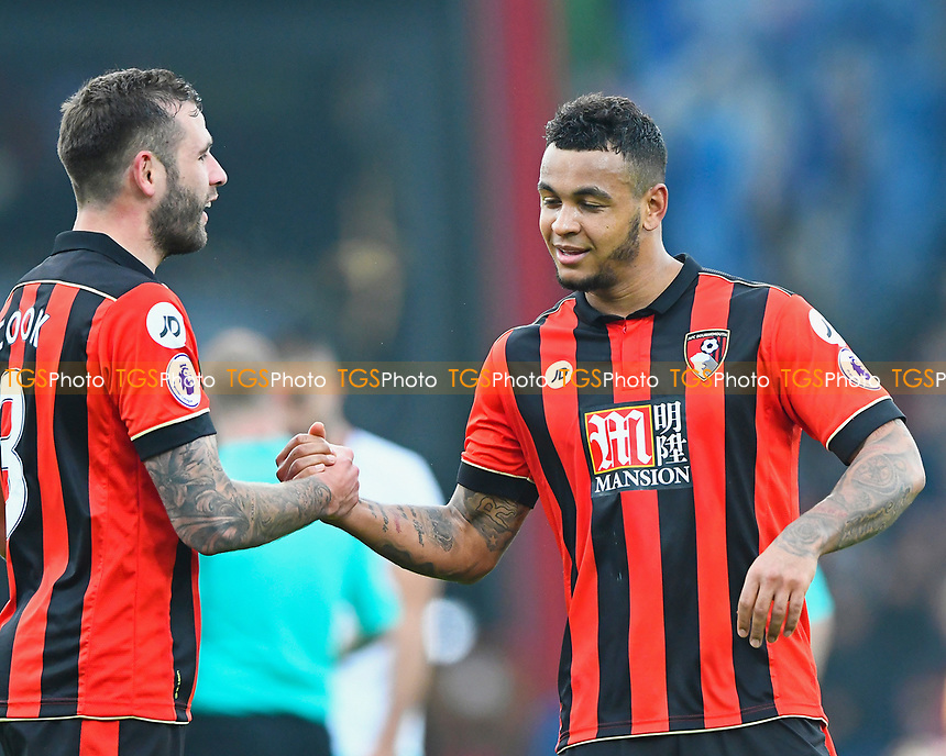 Steve Cook of AFC Bournemouth left congratulates Joshua King at the final whistle during AFC Bournemouth vs West Ham United, Premier League Football at the Vitality Stadium on 11th March 2017