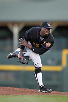 Louisville Bats starting pitcher Dontrelle Willis #35, a former MLB All-Star and Rookie of the year, delivers a pitch during a game against the Rochester Red Wings at Frontier Field on May 9, 2011 in Rochester, New York.  Rochester defeated Louisville by the score of 7-6 in a marathon 18 inning game.  Photo By Mike Janes/Four Seam Images