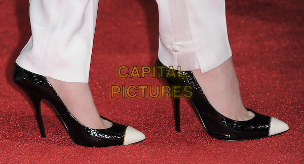 Evan Rachel Wood's shoes.The L.A. Premiere of 'The Ides of March' held at The Academy of Motion Picture Arts & Sciences  in Beverly Hills, California, USA..September 27th, 2011.detail feet heels two tone black white .CAP/RKE/DVS.©DVS/RockinExposures/Capital Pictures.