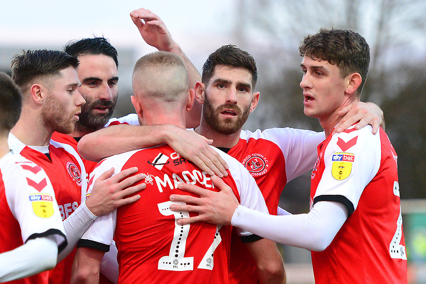 Fleetwood Town's Paddy Madden celebrates scoring his side's first goal with Ched Evans and his team-mates<br /> <br /> Photographer Richard Martin-Roberts/CameraSport<br /> <br /> The EFL Sky Bet League One - Fleetwood Town v Portsmouth - Saturday 29th December 2018 - Highbury Stadium - Fleetwood<br /> <br /> World Copyright © 2018 CameraSport. All rights reserved. 43 Linden Ave. Countesthorpe. Leicester. England. LE8 5PG - Tel: +44 (0) 116 277 4147 - admin@camerasport.com - www.camerasport.com