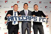 Philadelphia, PA - Thursday January 19, 2018: Bob Lenarduzzi, Justin Fiddes, Carl Robinson during the 2018 MLS SuperDraft at the Pennsylvania Convention Center.