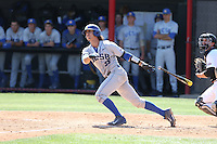 Campbell Wear (35) of the UC Santa Barbara Gouchos bats during a game against the Cal State Northridge Matadors at Matador Field on April 10, 2015 in Northridge, California. UC Santa Barbara defeated Cal State Northridge, 7-4. (Larry Goren/Four Seam Images)