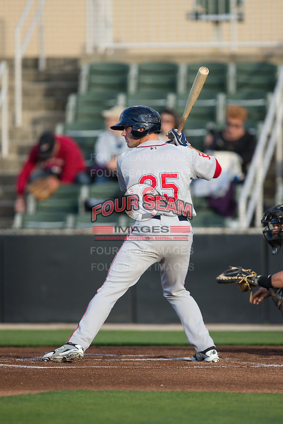 Ben Moore (25) of the Greenville Drive at bat against the Kannapolis Intimidators at CMC-Northeast Stadium on April 28, 2015 in Kannapolis, North Carolina.  The Intimidators defeated the drive 3-2.  (Brian Westerholt/Four Seam Images)