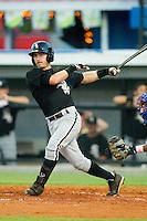JD Ashbrook #6 of the Bristol White Sox follows through on his swing against the Burlington Royals at Burlington Athletic Stadium August 13, 2010, in Burlington, North Carolina.  Photo by Brian Westerholt / Four Seam Images