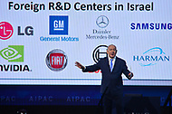 Washington, DC - March 6, 2018: Israeli Prime Minister Benjamin Netanyahu talks about innovative businesses in Israel during the 2018 American Israel Public Affairs Committee (AIPAC) Policy Conference at the Washington Convention Center March 6, 2018.  (Photo by Don Baxter/Media Images International)