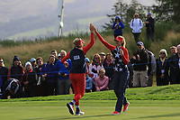Jessica Korda and Nelly Korda of Team USA on the 6th green during Day 1 Foursomes at the Solheim Cup 2019, Gleneagles Golf CLub, Auchterarder, Perthshire, Scotland. 13/09/2019.<br /> Picture Thos Caffrey / Golffile.ie<br /> <br /> All photo usage must carry mandatory copyright credit (© Golffile | Thos Caffrey)