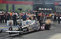 Jun. 16, 2012; Bristol, TN, USA: NHRA top fuel dragster driver Shawn Langdon during qualifying for the Thunder Valley Nationals at Bristol Dragway. Mandatory Credit: Mark J. Rebilas-