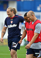 PICTURE BY ALEX WHITEHEAD/SWPIX.COM - Rugby League - England Training - Belle Vue Stadium, Wakefield, England - 02/07/12 -  Eorl Crabtree (left) laughs with teammates.