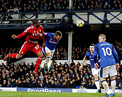 5th November 2017, Goodison Park, Liverpool, England; EPL Premier League Football, Everton versus Watford; Christian Kabasele of Watford wins a challenge in the Everton area against Everton skipper Phil Jagielka