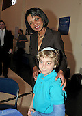 Washington, DC - May 3, 2009 -- Misha Lerner, of Bethesda, Maryland, a fourth grader at the Jewish Primary Day School (JPDS) of the Nation's Capital in Washington, DC., meets former U.S. Secretary of State Condoleezza Rice on Sunday, May 3, 2009.  Earlier Misha asked Dr. Rice about the legality of the methods the Bush Administration used to get information from detainees..Credit: Ron Sachs / CNP