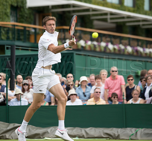 July 4th 2017, All England Lawn Tennis and Croquet Club, London, England; The Wimbledon Tennis Championships, Day 2; Nicolas Mahut (FRA) hits a forehand volley return to Mikhail Youzhny (RUS)