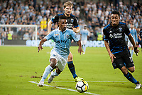 Kansas City, KS - Wednesday August 9, 2017: Latif Blessing, Darwin Ceren during a Lamar Hunt U.S. Open Cup Semifinal match between Sporting Kansas City and the San Jose Earthquakes at Children's Mercy Park.