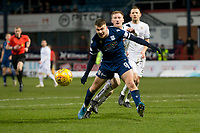 3rd March 2020; Dens Park, Dundee, Scotland; Scottish Championship Football, Dundee FC versus Alloa Athletic; Andrew Nelson of Dundee challenges for the ball with Liam Dick of Alloa Athletic