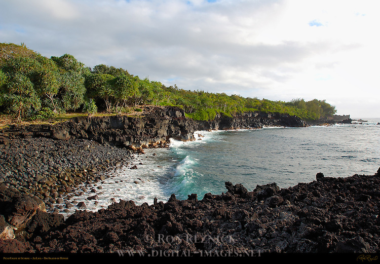 Puna Coast at Sunrise, Aa Lava, Big Island of Hawaii