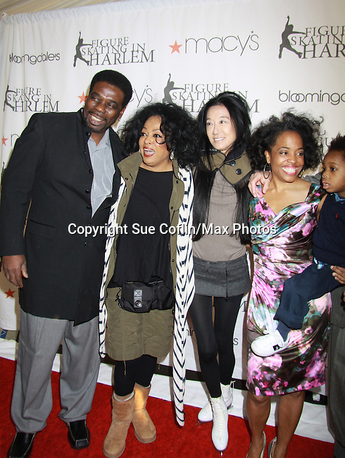 Another World's Rhonda Ross with her mother Diana Ross (of the Supremes) and her son Raif where Rhonda was honored with the Star Leadership Award at the 2012 Skating with the Stars - a benefit gala for Figure Skating in Harlem celebrating 15 years on April 2, 2012 at Central Park's Wollman Rink, New York City, New York.  (Photo by Sue Coflin/Max Photos)