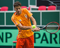 29-01-2014,Czech Republic, Ostrava,  Cez Arena, Davis-cup Czech Republic vs Netherlands, practice, Robin Haase(NED) <br /> Photo: Henk Koster