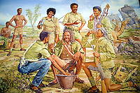 "Eritrea. Maekel province. Asmara. Hotel Intercontinental. Painting by Michael Rabba, 1994. ""Sharing rge Rabba"". Eritrean soldiers fighting for the independence of Eritrea which occured in 1991. © 2006 Didier Ruef"