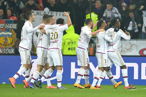 28.02.2016. Lyon, France. French League 1 football. Olympique Lyon versus Paris St Germain.  Maxwell CORNET (ol) clebrates scoring the games 1st goal in the 13th minute with JORDAN FERRI (ol) and ALEXANDRE LACAZETTE (ol)