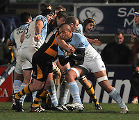 Rugby. High Wycombe, England. Abdellatif Boutaty of Bayonne tackled during the Amlin Challenge Cup match between London Wasps vs Bayonne at Adams Park on December 13, 2012 in High Wycombe, England.