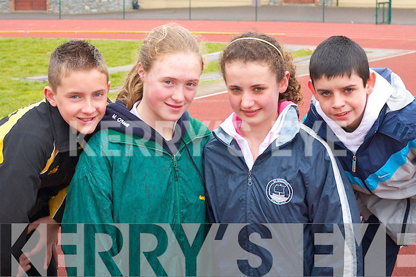 Johnaton Foley Farranfore/Maine Valley, Mairead O'Donoghue Gneeveguilla AC, Una Marley St Brendan's and Daniel O'Connell Farranfore/Maine Valley at the Farranfore/Maine Valley AC open sports day in Castleisland on Sunday.   Copyright Kerry's Eye 2008