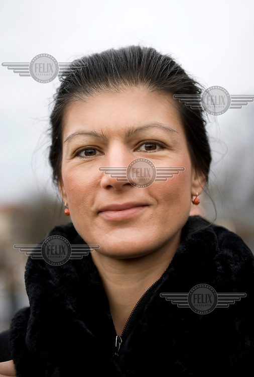 Sahra Wagenknecht, a leader of the political party Die Linke (The Left), at an event held in memory of Rosa Luxemburg and Karl Liebknecht held in the Friedrichsfelde Cemetery, where they are buried..