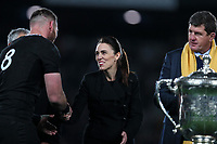 NZ Prime Minister Jacinda Ardern congratulates All Blacks captain Kieran Read on winning the Bledisloe Cup Rugby match between the New Zealand All Blacks and Australia Wallabies at Eden Park in Auckland, New Zealand on Saturday, 17 August 2019. Photo: Simon Watts / lintottphoto.co.nz