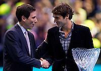 Roger Federer receives ATP awards for 2011..ATP World Tour Finals Day 2, 21.11.2011, 21st November, 2011. 02, London. UK..@AMN IMAGES, Frey, Advantage Media Network, Level 1, Barry House, 20-22 Worple Road, London, SW19 4DH.Tel - +44 208 947 0100.email - mfrey@advantagemedianet.com.www.amnimages.photoshelter.com.