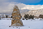 Yellowstone National Park, Wyoming:<br /> Liberty Cap formation at Mammoth Hot Springs
